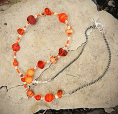 Orange Beaded Chain Necklace by LivingDesignsbyK on Etsy, $15.00