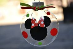Minnie Mouse Christmas Ornament. We sell at Daisy Lane a ton of different glass bulb ornaments