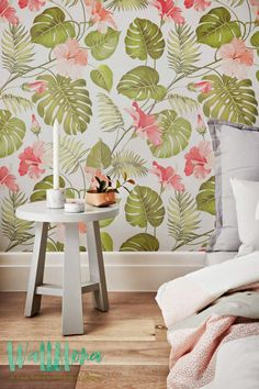 Tropical Pattern Wallpaper | Hibiscus Removable Wallpaper | Palm leaves Wallpaper | Wall Sticker | Tropical Self Adhesive Wallpaper