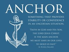 LDS Quote by M. Russell Ballard Find more LDS inspiration at… Camp Quotes, Lds Quotes, Inspirational Quotes, Qoutes, Anchor Quotes, Nautical Quotes, Church Quotes, Relief Society, Faith In God