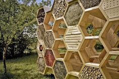 The K-Abeilles Hotel for Bees provides a safe and intriguing space for wild bees to take refuge and also offers up a shady resting spot for humans at the Muttersholtz Archi Festival.