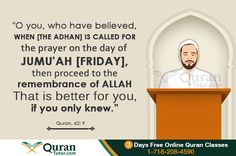 Friday has declared a weekly Eid by Prophet Muhammad (PBUH) because of the virtuous and bounties associated with it. It is the day when Muslims gather in mosque for congregational prayers standing … Online Quran, Prophet Muhammad, Holy Quran, Hadith, Allah, Believe, My Life, Prayers, Friday