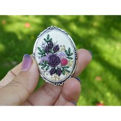 Items similar to Hand embroidered brooch. In vintage style. on Etsy Hand Embroidery Projects, Embroidery Techniques, Embroidery Patterns, Vintage Embroidery, Ribbon Embroidery, Lazy Daisy Stitch, Embroidered Roses, Brazilian Embroidery, Fabric Jewelry