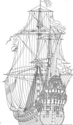 kleurplaat Zeilschepen - Historisch Zeilschip