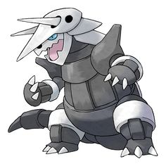Aggron - 306 - It claims an entire mountain as its own. The more wounds it has, the more it has battled, so don't take it lightly. While seeking iron for food, it digs tunnels by  breaking through bedrock with its steel horns.