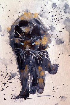 Black Cat In Gold Canvas Print / Canvas Art by Kovacs Anna Brigitta - Katzen - Gold Canvas, Canvas Art, Canvas Prints, Watercolor Cat, Watercolor Animals, Watercolour Painting, Painting Art, Watercolours, Animal Paintings