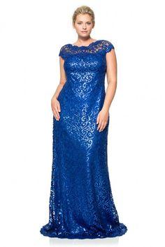 Paillette Embroidered Lace Off Shoulder Gown - PLUS SIZE | Tadashi Shoji - No me encanta el brillo de la tela pero me gusta el estilo :)
