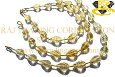 Citrine Concave Cut Drops (St. Drill) (Quality AA) Shape: Drops Concave Cut Length: 18 cm Weight Approx: 8 to 10 Grms. Size Approx: 7x11 to 7x12.5 mm Price $34.66 Each Strand