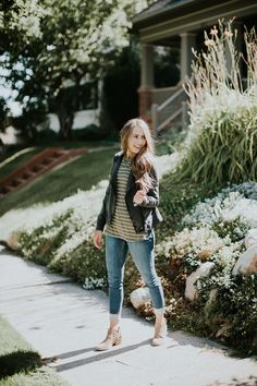 Fall uniform perfection! Green stripe basic tee paired with a black jacket, jeans, and booties. LOVE!