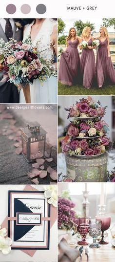Best 6 Mauve Wedding Color Combos for 2019 mauve purple and grey vintage wedding colors ideas / www. Vintage Wedding Colors, Gray Wedding Colors, Mauve Wedding, Wedding Color Schemes, Fall Wedding, Our Wedding, Wedding Flowers, Dream Wedding, Wedding Season