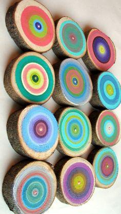 Hand painted tree rings