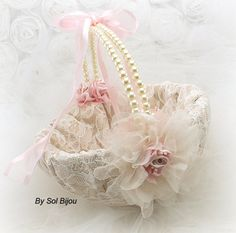 Flower Girl Basket Bridal Basket in Champagne Light by SolBijou