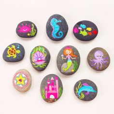 Story Stones and Painted Rocks / Mermaid Princess Poppie loves her some dang rocks she would love these! Maybe I can't get a bunch or make some to teach her to count higher than 15!