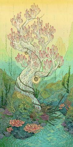 nimasprout - Art by Nicole Gustafsson / plante / imaginaire / arbre / magie / pa. Art And Illustration, Illustrations, Art Magique, Arte Indie, Poster Design, Graphic Design, Image Manga, Psychedelic Art, Aesthetic Art