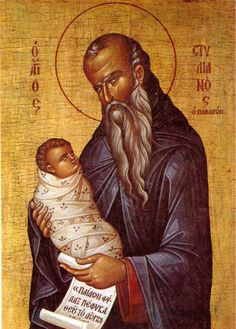 St. Stylianos, creator of the world's first day care center. Not even kidding!