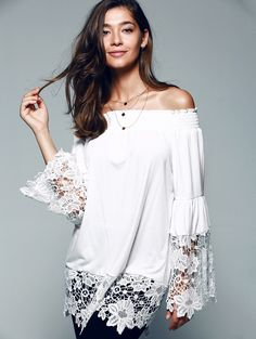 Bell Sleeve Off The Shoulder Lace Splicing Blouse