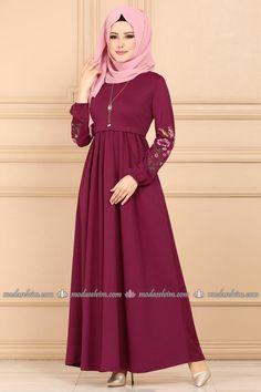 moda selvim Kolu Nakışlı Tesettür Elbise PL834 Şarabi Collection, Fashion, Moda, Fashion Styles, Fashion Illustrations