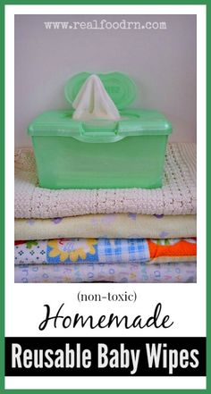 Homemade Baby Wipes (reusable). These take minutes to make with a few inexpensive ingredients! The best part is that non only are these NOT full of chemicals like the store-bought wipes, but they are actually good for baby's skin. You will never have to buy wipes again! realfoodrn.com #diybabywipes #nontoxicbabywipes