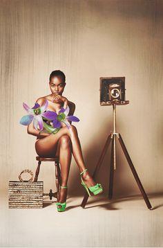 Pour mettre en avant la collection Cruise 2013 de Charlotte Olympia, le mannequin Dominicain Genesi...