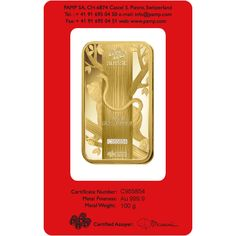 <2016 PAMP SUISSE Lunar Series Year of the Monkey 100g Gold Bar>  Country : Switzerland Years : 2016 Fineness : 999.9 Gold Weight : 100g Size : 47mm x 27mm Thickness : 4.08mm
