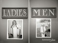 Funny Idea: Place old pictures of the bride and groom on the door of the bathrooms. It'll give the guests something to laugh about. #weddingdecorations
