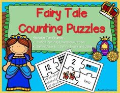 Counting: Fairy Tale Number Puzzles •Your students will have fun finding the corresponding number, ten frame, objects, and number word for values from 0 to 20. •Tracing, cutting, and gluing... Guaranteed to help develop their fine motor skills. •Includes one set in color and another trace and color set.