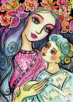 Mother and baby painting tree of life nursery art folk art Mother And Baby Paintings, Mother And Child Painting, Nursery Paintings, Nursery Art, Nursery Decor, Wall Decor, Art Populaire, Madonna And Child, Mothers Love