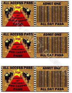 PRINTABLE-DIY Hollywood Party Hollywood Badge by PrintPartyDesigns