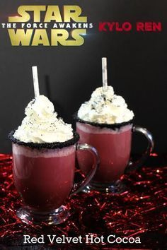 Warm up with this tasty Star Wars Kylo Ren Red Velvet Hot Cocoa Recipe. These w… Warm up with this tasty Star Wars Kylo Ren Red Velvet Hot Cocoa Recipe. These would be perfect for a sleepover or movie night with the kids. Hot Cocoa Recipe, Cocoa Recipes, Hot Chocolate Recipes, Dessert Recipes, Chocolate Smoothies, Chocolate Shakeology, Lindt Chocolate, Chocolate Crinkles, Chocolate Drizzle