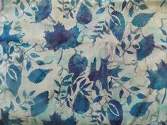 WtW Estate Fabric Batik Watercolor Blue Garden Nature Leaf Leaves ++++ Quilt