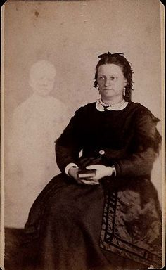 Spirit photo by William Mumler. Mumler was later convicted of fraud for taking advantage of grieving people.