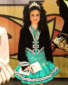 Bright aqua and black Irish dance solo dress