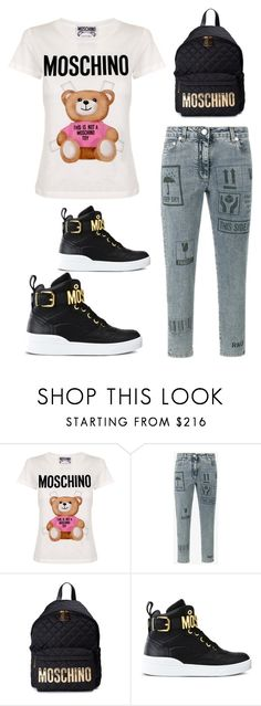 """""""back 2 school"""" by im-karla-with-a-k ❤ liked on Polyvore featuring Moschino"""
