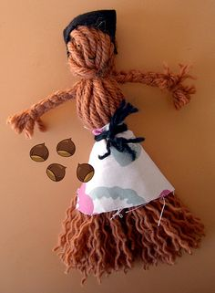 I made many of these as a kid. We didn't have the money for Barbies, but this was way better. Yarn Dolls, Craft Projects, Craft Ideas, Yarns, Stitching, Barbie, Crafting, Felt, Money