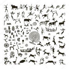 Pinturas rupestres, boceto para su diseño — Ilustración de stock #42702539