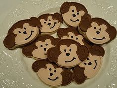monkey cookies. im putting on sticks for a babyshower