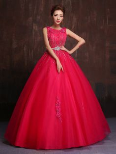 Hot Pink Modest Quinceanera Ball Gown Prom Dress Home Coming Dress Swe