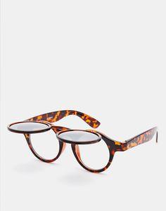 Sonnenbrille von ASOS Schildplattgestell geformte Nasenpolster für zusätzlichen Komfort Flip-Top, leicht getönte Gläser zulaufende Bügel mit abgerundeten Enden für sicheren Halt voller UV-Schutz
