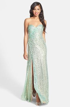 La Femme Strapless Sequin Gown available at #Nordstrom