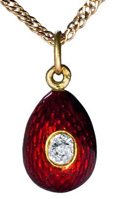 More Necklaces           CARL FABERGE Antique Guilloche Enamel Egg Pendant