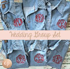 Wedding Set Monogram Denim Button Up Shirt Great for Groups