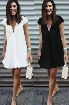 Fashion Women V-neck Short Sleeve Summer Mini Dress Solid Tops Casual Sundress Lace Summer Dresses, Nice Dresses, Casual Dresses, Short Sleeve Dresses, Dresses Dresses, Girl Fashion, Fashion Dresses, Womens Fashion, Mode Ab 50