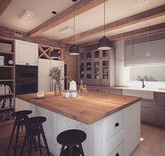Home Decor Kitchen, Kitchen Furniture, Kitchen Interior, Kitchen Dining, Dining Room Design, Home Staging, Beautiful Kitchens, Kitchen Remodel, Sweet Home