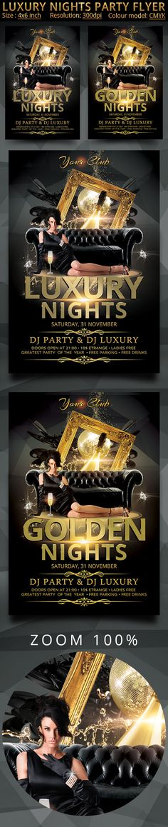 Luxury Nights Party Flyer by oloreon on Creative Market