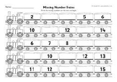 Missing numbers train worksheets (counting in 1s)