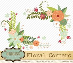 This set of floral clipart corner borders is perfect for your creative ...