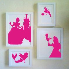 "1. Google any silhouette 2. Print on colored paper 3. Cut them out 4. Place in frame. I would love to do this with ""boy"" Disney pictures."