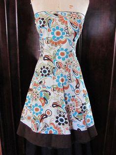 Teeze Me Brown Beige Blue Green Floral Strapless Dress 9 #TeezeMe #TeaDress #Casual