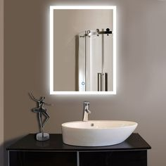 Vertical LED Wall Mounted Lighted Vanity Bathroom Silvered Mirror with Touch Button