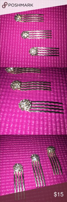 3 Rhinestone Hair Accessories Beautiful hair accessories that also work in a bobby pin like fashion. Rhinestone circles on the end of each. Used once for a wedding. Great for formal events. Accessories Hair Accessories